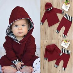 Details about HOT Newborn Toddler Baby Boy Girl Hooded Sweater Tops+Pants Outfits Set Clothes Baby & Toddler Clothing, Toddler Outfits, Baby Boy Outfits, Kids Outfits, Newborn Outfits, Pants Outfit, Outfit Sets, Baby Boy Newborn, Baby Boys