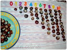 Using Conkers to create a number line. These can also be used for addition, subtraction, multiplication and division. Great idea