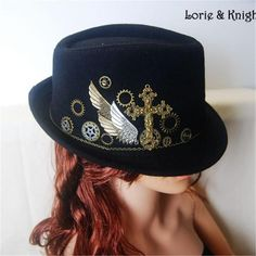 DIY Vintage Gothic Steampunk Wool Victorian Mini Top Hat with Cross & Gears for Wen and Women BLACK