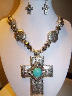 Western Prairie Cross... necklace set... $19.99  funjewelz.com