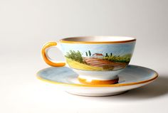 Autunno Cappuccino Cup and Saucer from the Quattro Stagioni collection | Hand-painted depicting the Four Seasons of Tuscany | Shop more at http://www.giardinidisole.com/shop-tabletop-ceramics