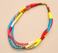 SALE % Colorful statement fabric rope necklace multi by BeataTe