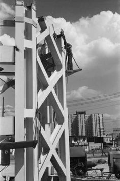 In this June 1961 photo a worker is seen on the side of the Space Needle's core as it rises from the construction site. Photo: George Gulacsik/Seattle Public Library / 2016 Seattle Public Library