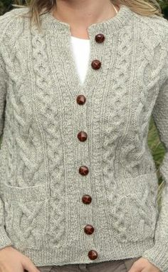Ladies Luxury Hand-Knitted Aran Cardigan - Sunart _ by Traditional Hand Knitters Colour: Limestone _ Free Aran Knitting Patterns, Hand Knitting, Knitting Tutorials, Loom Knitting, Aran Sweaters, Knitting Sweaters, Knit Cardigan Pattern, Sweater Patterns, Shawl Patterns