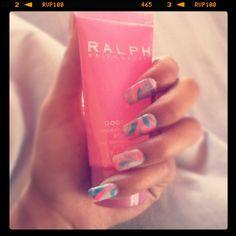 Pink Watermarble nails! Love Ralph Lauren!