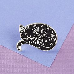 Silver Mystical Cat Enamel Pin  for $7.93 on Etsy #galacticcat #mystical