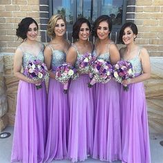 Long Bridesmaid Dresses Lilac Chiffon Sweetheart Maid of Honor Summer Sequins Beads Bling Formal Cheap Long Bridal Wedding Party Gowns 2016 Online with $109.95/Piece on Haiyan4419's Store   DHgate.com