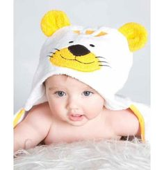 Toalla para beb� con capucha de Tigre. Colores disponibles: blanco con amarillo.Materiales: F...