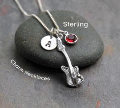 Sterling Silver Electric Guitar Charm Pendant Necklace -Personalized Custom Letter Name Initial Stamp -Birthstone or Swarovski Crystal Pearl by CharmNecklaces