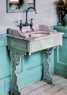 old sewing machine sink! That is cool