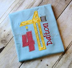 Crane birthday shirt. Construction by SimplieGirlieDesigns on Etsy
