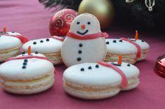 Ginger snowmen macarons with stem ginger ganache filling