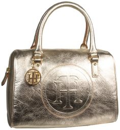 Tommy Hilfiger Trapunto Logo Convertible Satchel,Metalic Gold,One Size
