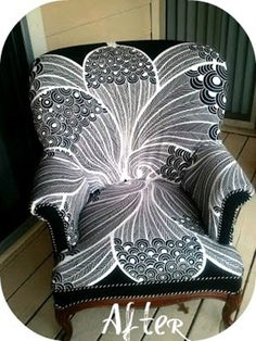 reupholstered dumpster chair