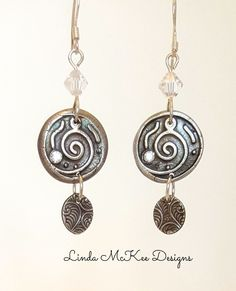 Stone Detail Silver Coin Earrings