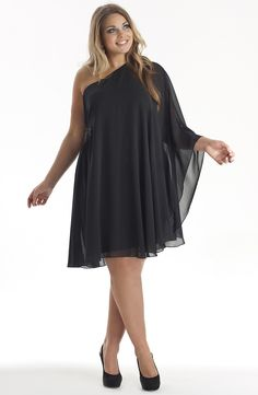 One shoulder cape dress/Black      Style No: ED5071    Drama and Elegance...     Georgette/satin one shoulder and wide cape party dress.    This dress has a gorgeous beaded embellishment waist height on the side. #fashion #plussize