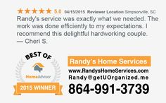 Randy's Home Services... Testimonial from April 15, 2015  www.RandysHomeServices.com