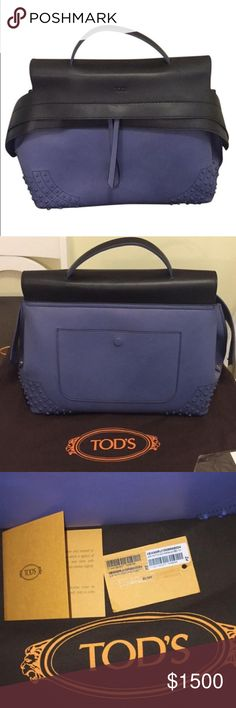Tod's wave Beautiful, perfect condition Black and periwinkle large Tod's wave bag. Brand new! 100% authentic with duster, card, tag. Original price $2,345.00 happy to negotiate a fair price! Tod's Bags Satchels