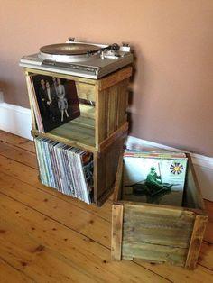 Vinyl Record/LP stapelbare Holzkiste für große schauende