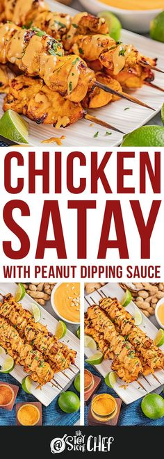 This Chicken Satay with Peanut Dipping Sauce recipe marinates in the most amazing coconut and curry sauce, before being grilled to perfection and served with a to-die-for peanut dipping sauce. Make sure to give it a try because you are going to love it! Indian Food Recipes, Asian Recipes, Dutch Recipes, Peanut Dipping Sauces, Coconut Curry Sauce, Chicken Satay, Yummy Chicken Recipes, Chicken And Dumplings, Home Chef