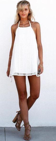 #summer #trending #style   Halter Little White Dress