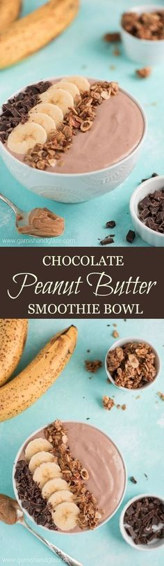 Start your day with a CHOCOLATE PEANUT BUTTER SMOOTHIE BOWL that is high in protein and super delicious.