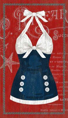 So fun! The Sailor Blue Swimsuit Custom Art -