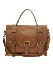 Warehouse Leather Ring Detail Buckle Satchel