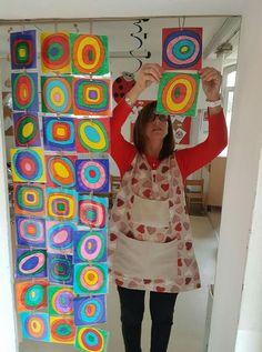 Kandinsky and The Dot Kindergarten Art, Preschool Art, Kandinsky Art, Library Art, School Art Projects, Collaborative Art, Art Classroom, Heart Art, Art Club