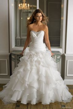 moonlight bridal wedding dresses fall 2012 strapless gown drop waist organza fit and flare style j6241 I don't typically like poofy dresses but this is beautiful!