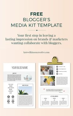 Your Media Kit will come into use when you're at a stage where you're ready to contact brands for advertising and collaboration opportunities. Kit Media, Blog Website Design, Blog Designs, Media Kit Template, Blog Design Inspiration, Blogger Templates, Templates Free, Blog Layout, Poster Layout