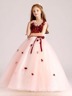 Ball-Gown V-neck Flower Girl Dress with Bow(s) Sash Little Girl Gowns, Cute Little Girl Dresses, Princess Flower Girl Dresses, Wedding Flower Girl Dresses, Gowns For Girls, Frocks For Girls, Cute Dresses, Dresses For Children, Pretty Dresses For Kids