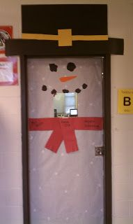 easy classroom door decoration for winter #school #classroom #decoration #winter #snowman