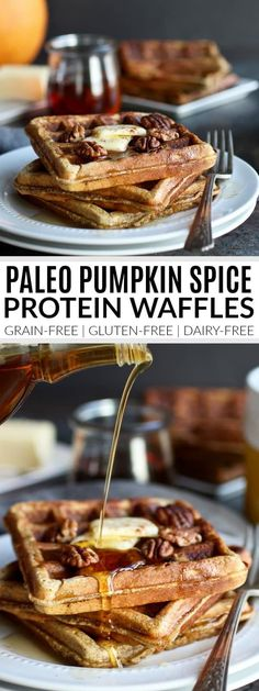 With 25 grams of protein per serving, these tasty Paleo Pumpkin Spice Protein Waffles make for a super satisfying breakfast or post-workout fuel. Recipe includes both gluten-free and paleo version. Dairy Free Breakfasts, Gluten Free Recipes For Breakfast, Low Carb Breakfast, Dairy Free Recipes, Paleo Recipes, Real Food Recipes, Breakfast Ideas, Healthy Waffle Recipes, Paleo Pumpkin Recipes
