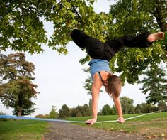 k this would be hard to do on the ground how is she doing it on a rope...