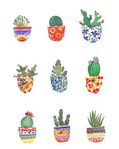Nine happy little cacti! This is a digital print of my original ink watercolor/gouache painting inspired by a vacation to sunny Arizona! Printed