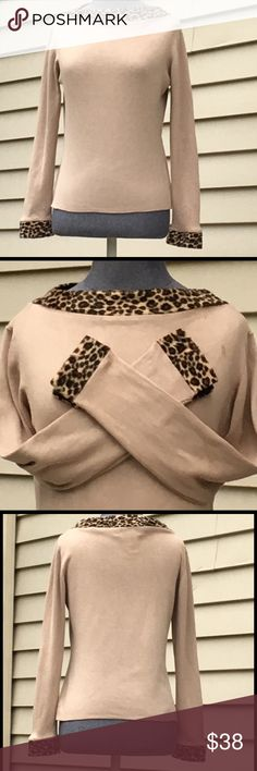 """MINT CONDITION! Joseph A. Silk Blend Sweater Sz M. MINT CONDITION! Joseph A. Silk Blend Top w/ Leopard Trim Neckline & Leopard Trim Cuffs On Sleeves. (Raindrop on Left Shoulder, Its Gone Now) Absolutely Gorgeous! Mint Condition! Worn 1X! Well Made Silk Blend Knit! Measures 20 1/2"""" Long. Dress Up or Down. Pair w/ Dress Pants or Jeans Both Will Great! Joseph A. Tops"""
