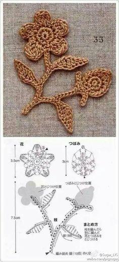 Crochet Leaves, Knitted Flowers, Crochet Flower Patterns, Flower Applique, Freeform Crochet, Thread Crochet, Irish Crochet, Crochet Tote, Crochet Chart