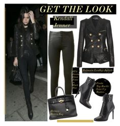 """""""Get The Look: Kendall Jenner"""" by hamaly ❤ liked on Polyvore featuring Balmain, RtA, Hermès and Prada"""