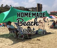Homemade Beach Tent: This Homemade tent can be used on the beach (which is my main use), but can easily be constructed for any outdoor activity.Hope you will enjoy this Instructable as I had assembling it. Beach Shade Tent, Beach Tent, Beach Umbrella, Beach Camping, Tent Camping, Camping 101, Camping Stuff, Beach Hacks, Beach Ideas