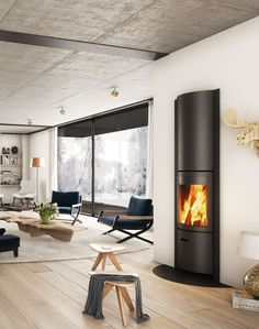 A modern fireplace with a rotating system, the Stuv 30 transforms into a efficient slow combustion stove or an open fireplace in an instant. Wood Burner Fireplace, Corner Gas Fireplace, Hanging Fireplace, Diy Fireplace, Modern Fireplace, Fireplaces, 3d Interior Design, Scandinavian Interior Design, Living Room Modern