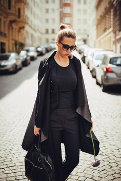 KUKLA black/salt pepper Moderne Outfits, Black Beauty, Elegant, Salt And Pepper, Duster Coat, Stuffed Peppers, Jackets, Inspiration, Collection