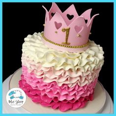 Pink ombre ruffle smash cake with a light pink fondant princess crown adorned gold accents including a glittery number 1 Baby Girl 1st Birthday, First Birthday Cakes, Princess Birthday, Princess Party, Birthday Ideas, Pretty Cakes, Cute Cakes, Beautiful Cakes, Princess Smash Cakes
