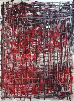 TABLEAU PEINTURE rouge noir design deco - Enfermé