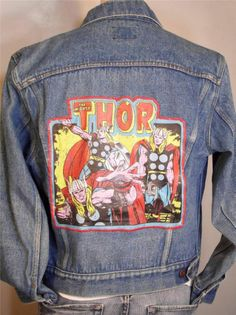 INTRODUCING OUR NEW COMIC HERO AND MOVIE LINE TO THE ROCK & ROLL WORLD OF BFV  BAREFOOT VINTAGE ORIGINAL THE MIGHTY THOR - COMIC HERO JEAN JACKET MED LEE USA  $110.00