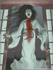 Onryo - Japanese Ghost - They are the ghosts of people who died with such strong passions, such as jealousy, rage or hatred, that their soul is unable to pass on, and instead, transforms into a powerful, wrathful spirit bent on vengeance on anyone or anything it encounters.