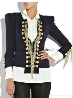 Women Balmain Military Style Wedding Jacket Suit ladies Tuxedo ...