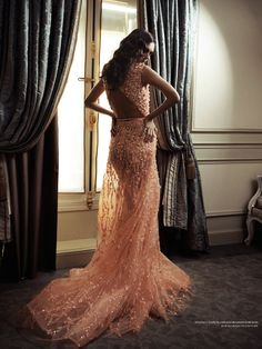 Dovile Virsilaiteby Gilbert François forL'Officiel Ukraine (April 2012). Elie Saab Haute Couture dress.