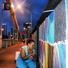 Sewing Late Into the Night | 16 Instagrams From Pittsburgh's Knit The Bridge Project Install