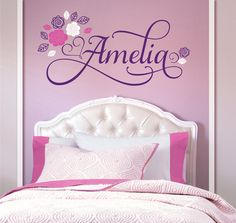 Flowers Personalized Custom Name Vinyl Wall Decal Sticker for Nursery, Girl's or Teen Room